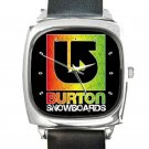 Burton Snowboards Logo Square Metal Watch With Leather Band