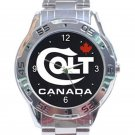 Colt Canada Firearms Gun Rifle Logo Stainless Steel Analogue Watch