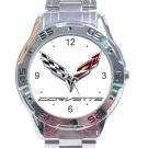 Corvette Car Logo Stainless Steel Analogue Watch
