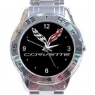 Corvette Car Logo In Black Background Stainless Steel Analogue Watch