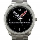 Chevrolet Car Logo In Black Background Unisex Sport Metal Watch