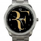 Roger Federer Tennis Player Gold and Black Logo Unisex Sport Metal Watch