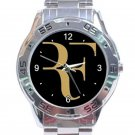 Roger Federer Tennis Player Gold and Black Logo Stainless Steel Analogue Watch