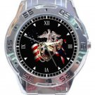 New US Marine Corp USA Flag Logo Unisex Stainless Steel Analogue Watch