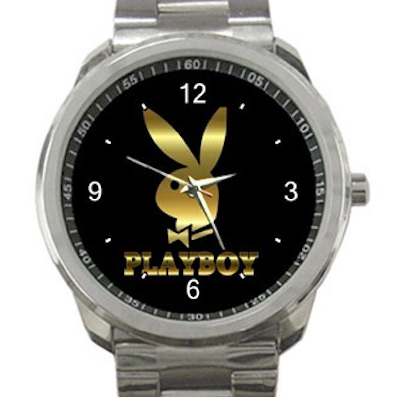 Gold Playboy Logo Bunny Unisex Sport Metal Watch
