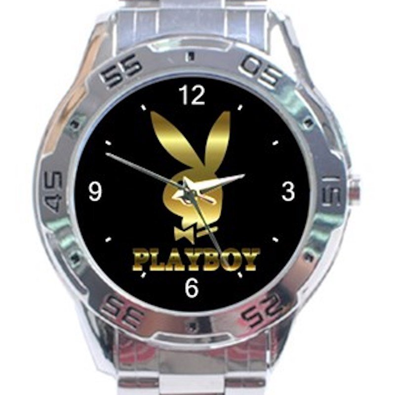 Gold Playboy Logo Bunny Unisex Stainless Steel Analogue Watch