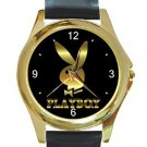 Gold Playboy Logo Bunny Unisex Round Gold Metal Watch
