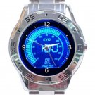 Blue Led Light Oil Press Meter Unisex Stainless Steel Analogue Watch