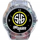 Firearms Sig Sauer Logo SIG Unisex Stainless Steel Analogue Watch