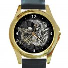 Dragon & Tiger Yin Yang Unisex Round Gold Metal Watch