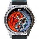 Fiery Phoenix & Tiger Yin Yang Unisex Round Silver Metal Watch