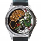 Tiger & Dragon Ancient Art Yin Yang Unisex Round Silver Metal Watch