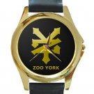 Zoo York Skateboard Gold Logo Unisex Round Gold Metal Watch