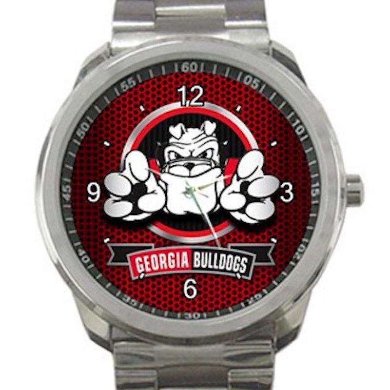 Georgia Bulldogs Football Nice Bulldog Logo Unisex Sport Metal Watch