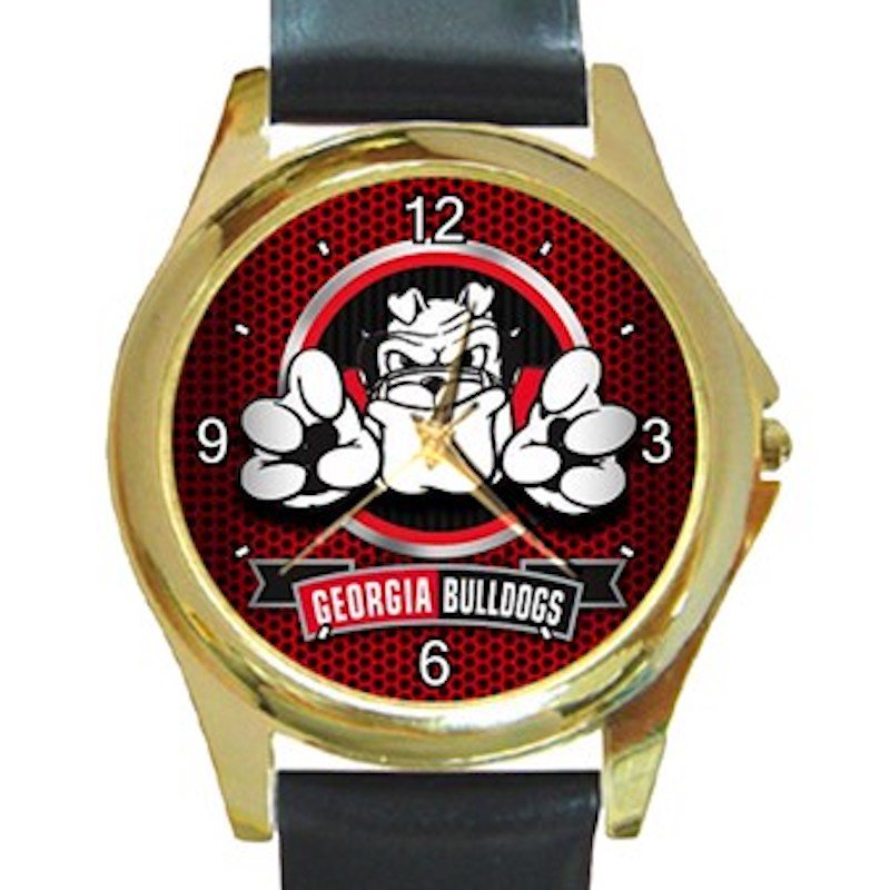 Georgia Bulldogs Football Nice Bulldog Logo Unisex Round Gold Metal Watch