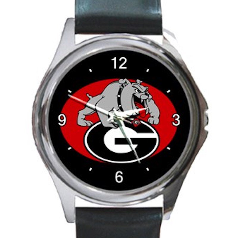 Georgia Bulldogs University of Georgia Athletics Logo Unisex Round Silver Metal Watch