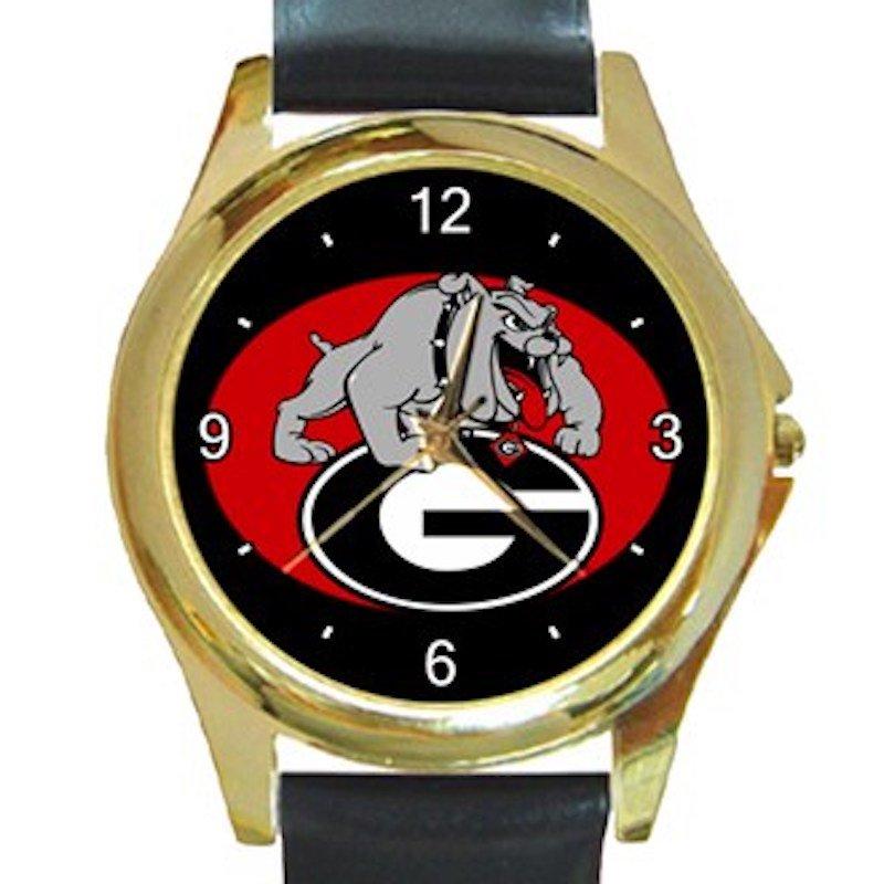 Georgia Bulldogs University of Georgia Athletics Logo Unisex Round Gold Metal Watch