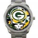 Green Bay Packers Logo Grateful Dead Design Unisex Sport Metal Watch