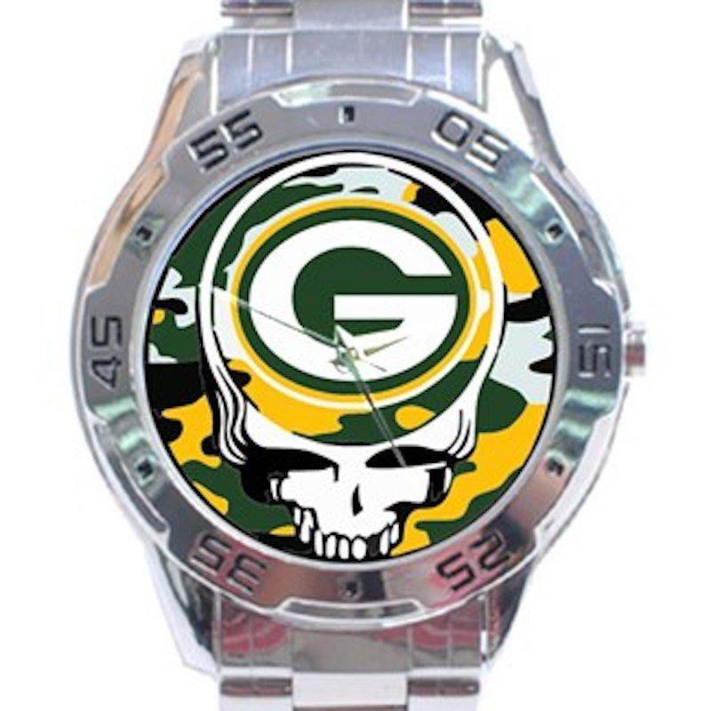 Green Bay Packers Logo Grateful Dead Design Unisex Stainless Steel Analogue Watch