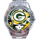 Green Bay Packers Logo Grateful Dead Design Unisex Stainless Steel Analogue Watch