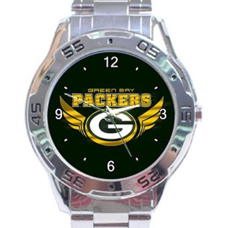 Green Bay Packers Logo with Wings Unisex Stainless Steel Analogue Watch