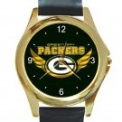 Green Bay Packers Logo with Wings Unisex Round Gold Metal Watch