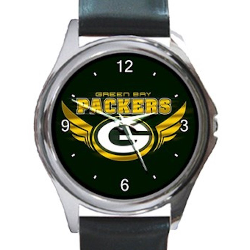 Green Bay Packers Logo with Wings Unisex Round Silver Metal Watch