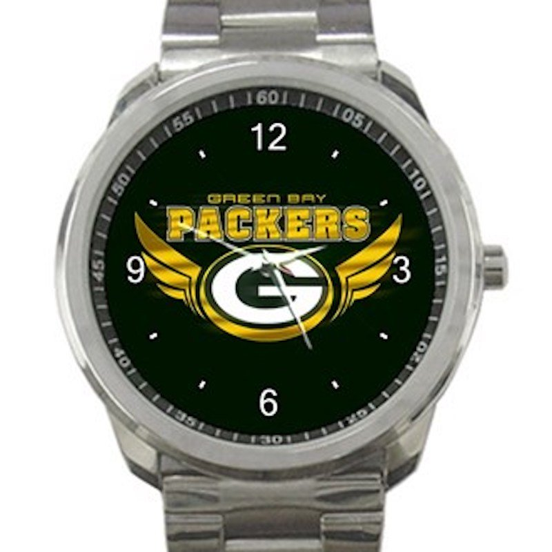 Green Bay Packers Logo with Wings Unisex Sport Metal Watch