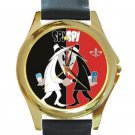 Spy Vs Spy Black & Red Design Unisex Round Gold Metal Watch