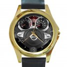 2013 Nissan JUKE Steering Wheel Unisex Round Gold Metal Watch