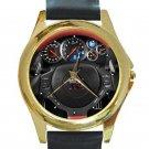 2016 Nissan GT-R Steering Wheel Unisex Round Gold Metal Watch
