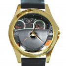 Chevrolet Aveo Steering Wheel Unisex Round Gold Metal Watch