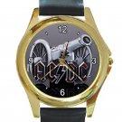 AC DC Cannon Logo Unisex Round Gold Metal Watch