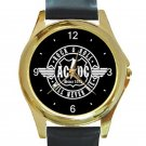 AC DC Rock & Roll Will Never Die Unisex Round Gold Metal Watch
