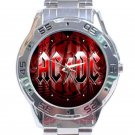 AC DC Red Logo Unisex Stainless Steel Analogue Watch