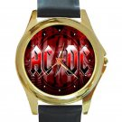 AC DC Red Logo Unisex Round Gold Metal Watch