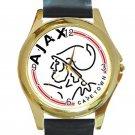 AFC Ajax Amsterdam Logo Unisex Round Gold Metal Watch