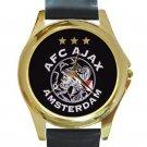 AFC Ajax Amsterdam Football Club Logo Unisex Round Gold Metal Watch