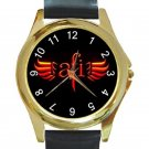 AFI A Fire Inside Rock Band Logo Unisex Round Gold Metal Watch