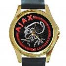 Ajax Amsterdam Unique Red Logo Unisex Round Gold Metal Watch