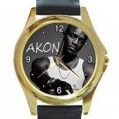Singer Akon Rapper Unisex Round Gold Metal Watch