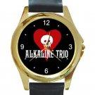 Alkaline Trio Rock Band Logo Unisex Round Gold Metal Watch