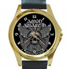 Amon Amarth Skull and Axes Unisex Round Gold Metal Watch