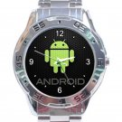 Android Green Logo Unisex Stainless Steel Analogue Watch