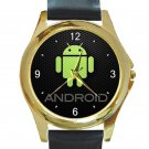 Android Green Logo Unisex Round Gold Metal Watch
