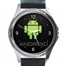 Android Green Logo Unisex Round Metal Watch
