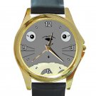 Cute Totoro's Face Unisex Round Gold Metal Watch