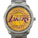 Los Angeles Lakers Basketball Court Logo Unisex Sport Metal Watch