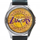 Los Angeles Lakers Basketball Court Logo Unisex Round Metal Watch