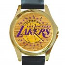 Los Angeles Lakers Basketball Court Logo Unisex Round Gold Metal Watch